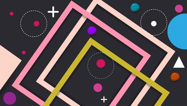 Баннер темный фон, фиолетовые полосы и формы