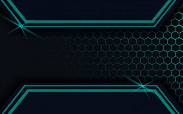Темный абстрактный фон с шестигранной линией вектор