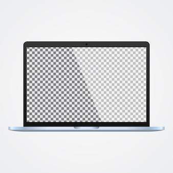 白の透明なスクリーンとモックアップのラップトップ
