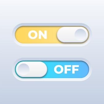 白地にカラフルなオン/オフ切り替えスイッチボタン