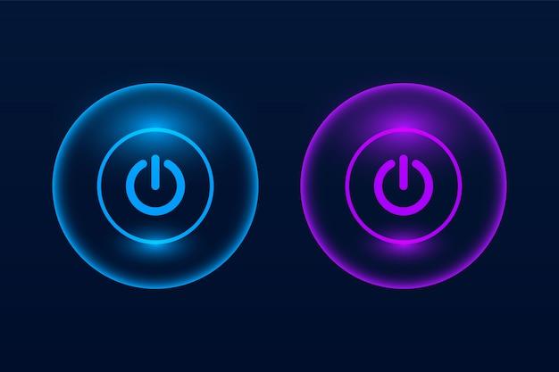 暗闇の中で輝くオンとオフのプッシュボタン