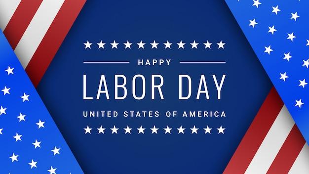 青の上のアメリカ合衆国の国旗と労働者の日