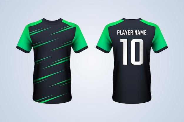 黒と緑のサッカージャージーテンプレート