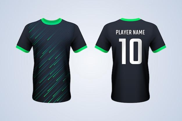 黒と緑のストリップサッカージャージーテンプレート