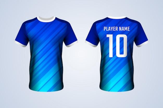 青いサッカージャージーテンプレート