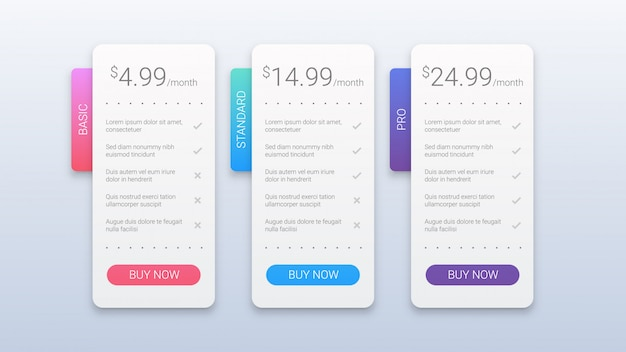 Шаблон простые красочные тарифные планы для веб