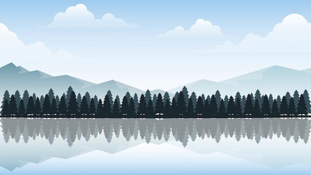 日光の下で山と森のベクトルイラスト