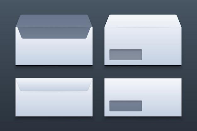 空白の現実的な封筒セットモックアップ