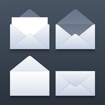 空白の現実的な封筒のモックアップのセット