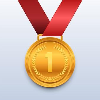 Золотая медаль победителя с красной лентой