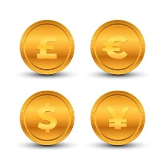 Мировой символ валюты и набор монет