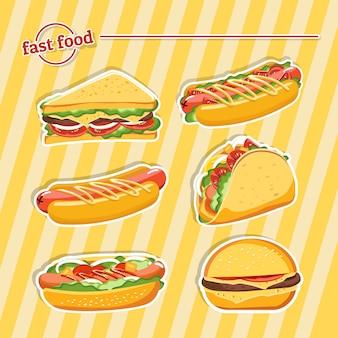 ファーストフードハンバーガー、おいしいセットファーストフード