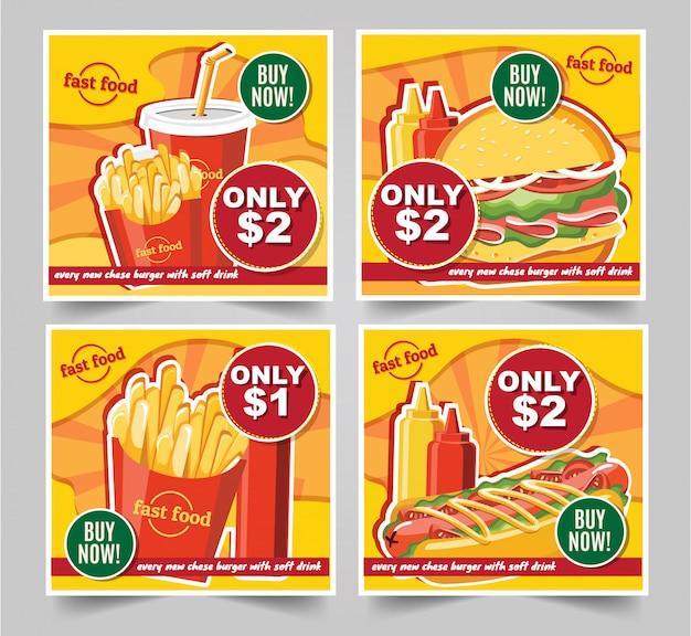 Фаст-фуд гамбургер, фаст-фуд еда баннеры вкусный набор фаст-фуд вектор