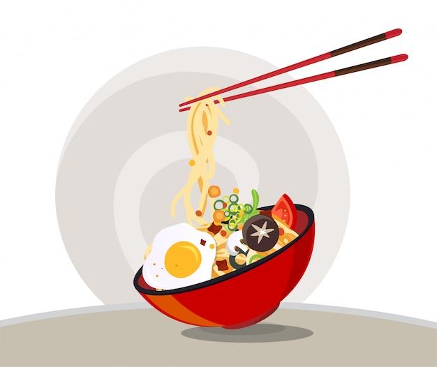 伝統的な麺入り中華スープ、中華丼アジアンヌードルスープ