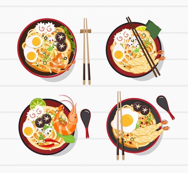 ボウルに日本のラーメン、中華丼アジアンフードイラストのヌードルスープ