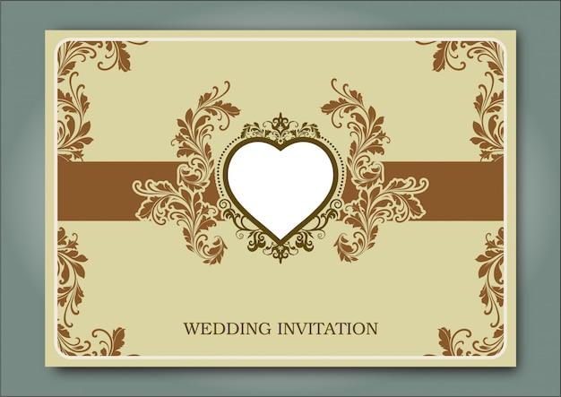ビンテージのウェディング招待状の枠線とフレームのテンプレート