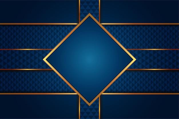 Современный аннотация роскоши градиента синий фон с золотыми линиями шаблона