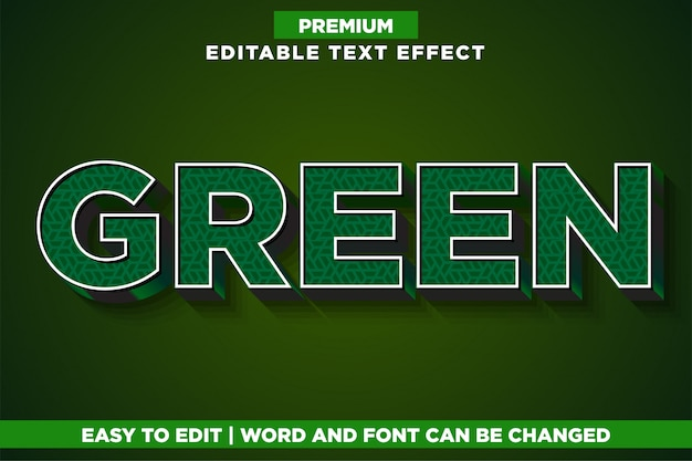 Зеленый, премиум редактируемый текстовый эффект стиль шрифта