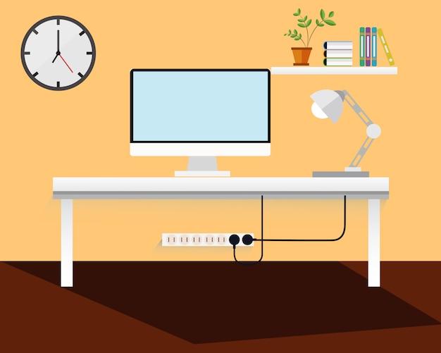 Креативная модель офиса на рабочем месте в комнате.