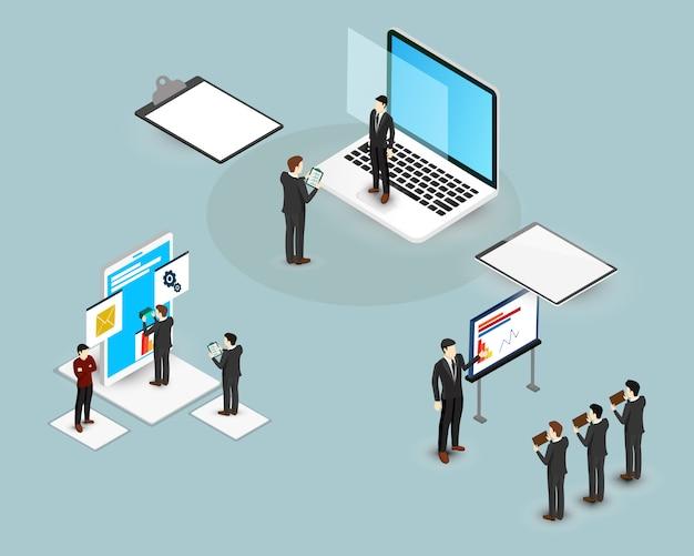 等尺性ビジネス男作業と大きな技術。