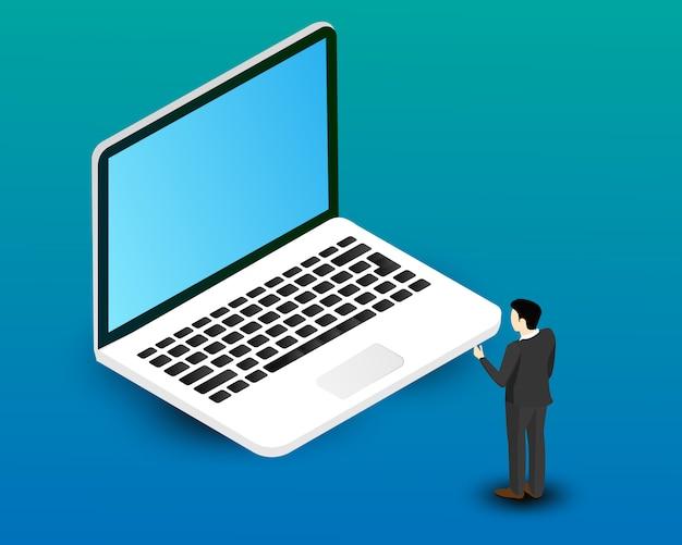 ビジネスの男性だけでフォントのラップトップコンピューターのベクトルのデザイン。