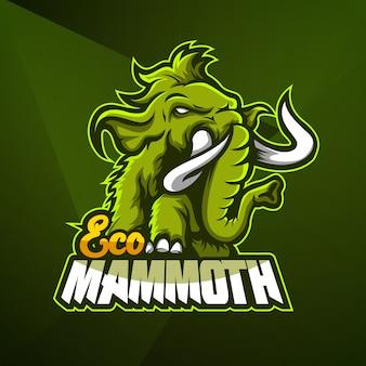Спортивный талисман логотип дизайн вектор шаблон кибер слон мамонта
