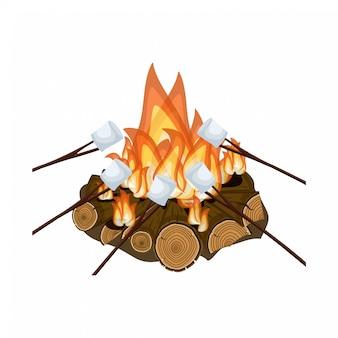 キャンプファイヤーでマシュマロを焼く