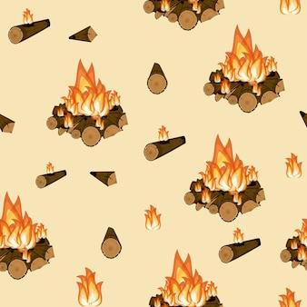 キャンプファイヤー燃える木と炎のシームレスなパターン