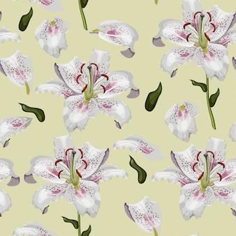 美しいオリエンタルユリの花のシームレスなパターン。