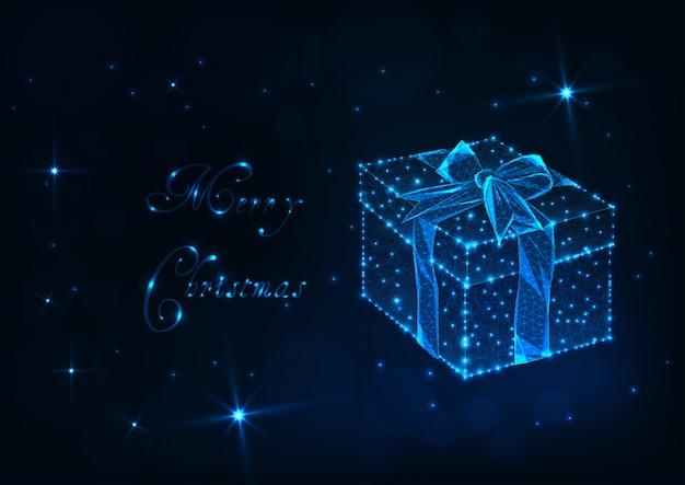 Веселая рождественская открытка с подарочной коробкой свечения низкой поли, бантом из ленты