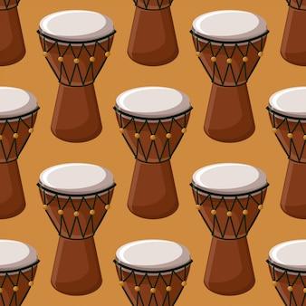 トルコ語またはアフリカの伝統的なドラムのシームレスなパターン。