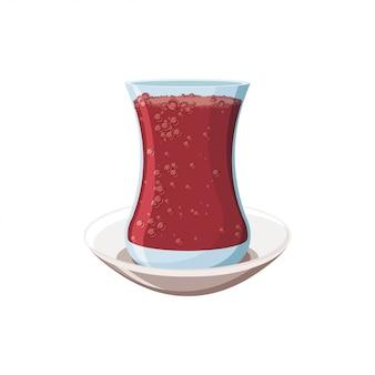 お茶とプレートのトルコの伝統的なガラス。