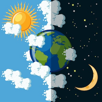 地球の惑星の昼と夜のコンセプト。
