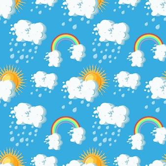 夏の天気太陽とのシームレスなパターン、