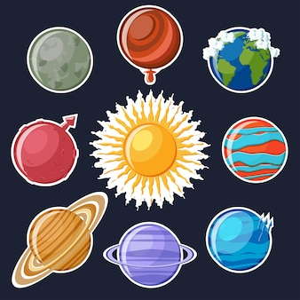 太陽系ステッカーセット。かわいい漫画惑星