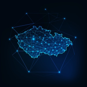 チェコ共和国地図グローシルエットアウトラインは低多角形から成っています。
