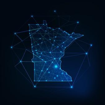 ミネソタ州アメリカ地図輝くシルエットアウトラインは、低多角形で作られています。