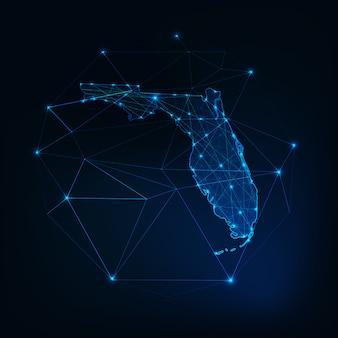 フロリダ州アメリカ合衆国地図輝くシルエットの星ラインドット三角形、低多角形。