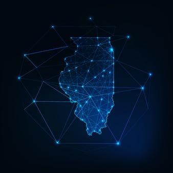 イリノイ州アメリカ合衆国地図輝くシルエットの星ラインドット三角形、低多角形。