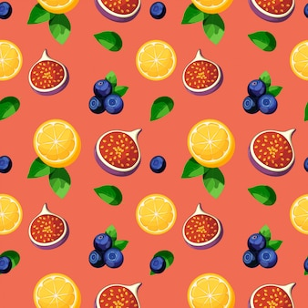 明るいカラフルなトロピカルフルーツ混合レモン、イチジク、ブルーベリー、葉のシームレスパターン
