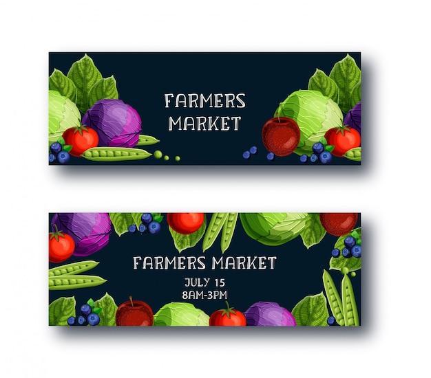 農民市場のバナー入りキャベツ、エンドウ豆、トマト、アップル、ブルーベリー、テキスト