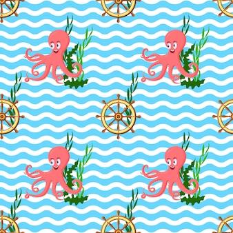 Безшовная картина с осьминогом, корабельным колесом, морскими сорняками и океанскими волнами.