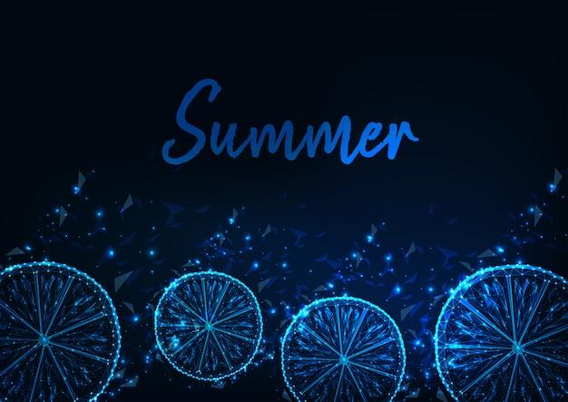 輝く低ポリレモンスライスと夏の背景