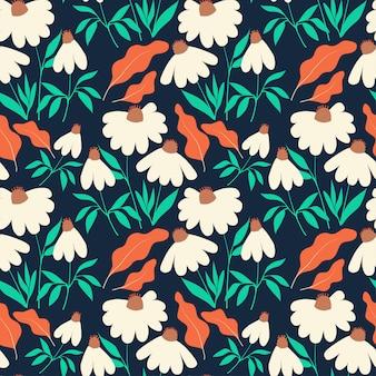 Бесшовный фон с цветами ромашки и листьями