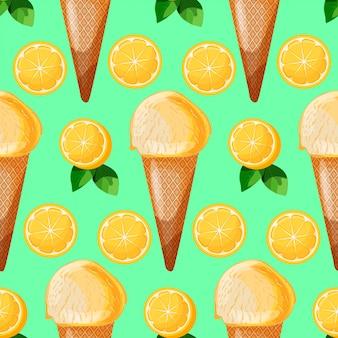 レモンスライスと緑の葉とレモンミントアイスクリームコーンのシームレスパターン