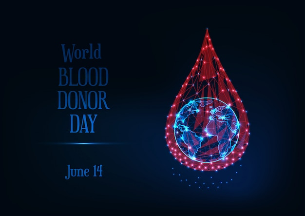 Всемирный день донора крови с горящими низкой поли капли крови и планеты земля глобус и текст.