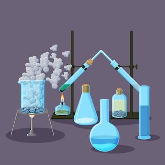 化学装置と実験の抽象的な背景