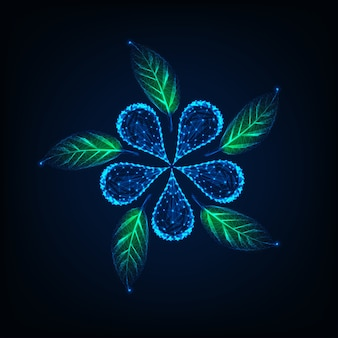 ラインで作られた未来的な輝く低ポリ花と緑の葉