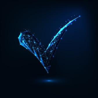 線、ドット、星、三角形で作られた未来的な輝く低ポリゴン承認シンボル。