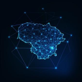 星と線の抽象的なフレームワークとリトアニアマップのアウトライン。通信、接続の概念。